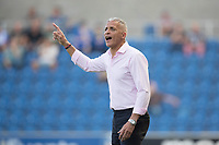 Keith Curle, Manager of Northampton Town points instructions to his team during Colchester United vs Northampton Town, Sky Bet EFL League 2 Football at the JobServe Community Stadium on 24th August 2019
