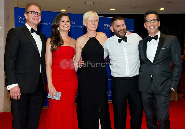 From left to right: Jeff Perry, Katie Lowes, Cosmopolitan Editor-in-Chief Joanna Coles, Guillermo Diaz and Dan Bucatinsky arrive for the 2014 White House Correspondents Association Annual Dinner at the Washington Hilton Hotel on Saturday, May 3, 2014.<br /> Credit: Ron Sachs / CNP<br /> (RESTRICTION: NO New York or New Jersey Newspapers or newspapers within a 75 mile radius of New York City) /MediaPunch