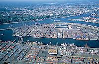 Deutschland, Hamburg, Hafen, Containerhafen Hamburg, Container, Schiffahrt, Burchardkai, Athabastakai, Waltershof, Container Terminal Waltershof, Euro Kai, Predoehlkai, Stadtansicht