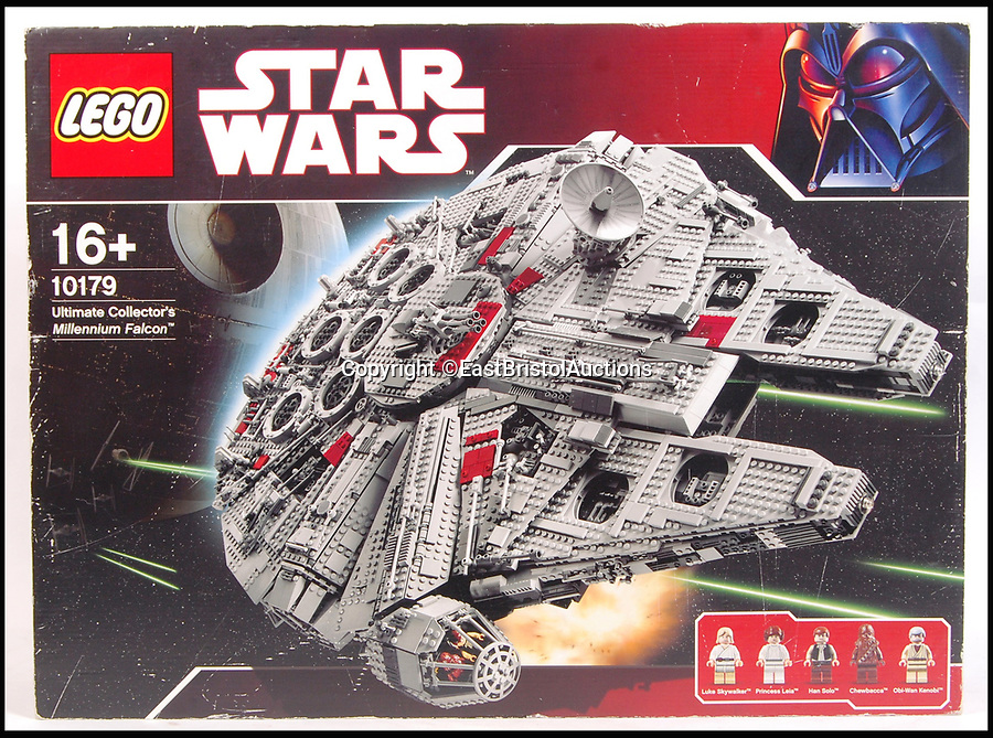 BNPS.co.uk (01202 558833)<br /> Pic: EastBristolAuctions/BNPS<br /> <br /> The 'holy grail' of Star Wars Lego - a massive version of the Millennium Falcon - that has been built and dismantled has emerged for sale for £2,200.<br /> <br /> The ultra-rare model is a 'to scale' replica of Han Solo's famous star ship. <br /> <br /> Crafted from over 5,000 pieces, it is the most spectacular and largest Star Wars Lego set ever produced.<br /> <br /> It is 100 per cent complete and comes in its original box with an enormous 311 page instruction manual.<br /> <br /> It's being sold by its original owner, a man from London who bought the set new from Toys R Us, assembled it and displayed it in his home.