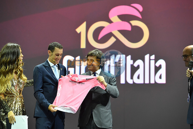 RCS MediaGroup Chairman and CEO Urbano Cairo at the 100th edition Giro d`Italia 2017 route presentation held at the Ice Palace in Milan, 25th October 2016.<br /> Picture: ANSA/Luca Zennaro | Newsfile<br /> <br /> <br /> All photos usage must carry mandatory copyright credit (&copy; Newsfile | ANSA/Luca Zennaro)