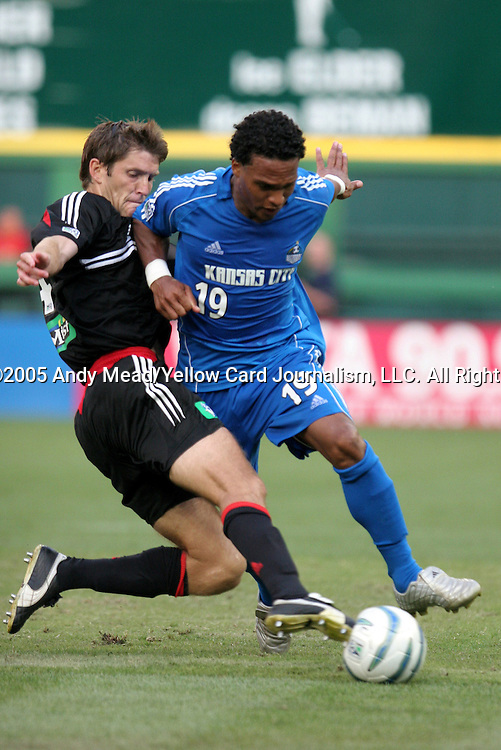 9 July 2005: Brandon Prideaux (l) knocks the ball away from Scott Sealy (19). The Kansas City Wizards defeated DC United 1-0 at RFK Stadium in Washington, DC in a regular season Major League Soccer game. . .