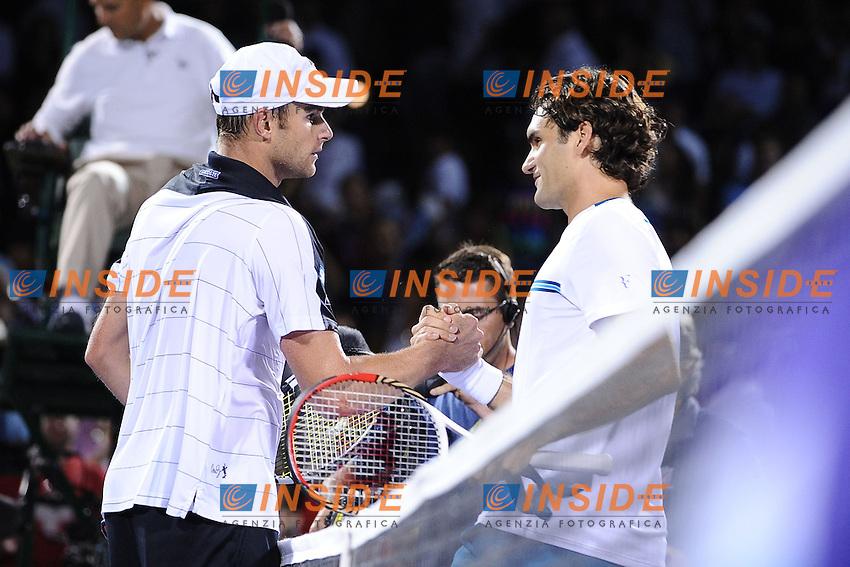 Andy Roddick (USA) sconfigge  Roger Federer (Svizzera).Torneo di tennis di Miami.26/03/2012 Miami.Foto Insidefoto / Antoine Courvercelle ..Only Italy