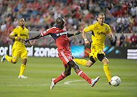 Chicago forward Dominic Oduro (8) takes a shot on goal.  The Chicago Fire defeated the Columbus Crew 2-1 at Toyota Park in Bridgeview, IL on June 23, 2012.