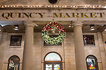 Christmas lights at Quincy Market in Faneuil Hall Marketplace, Boston, Massachusetts, USA