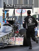 May 15, 2015; Commerce, GA, USA; A crew member running to NHRA top fuel driver Larry Dixon during qualifying for the Southern Nationals at Atlanta Dragway. Mandatory Credit: Mark J. Rebilas-USA TODAY Sports