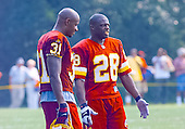 Washington Redskins cornerback Darrell Green (28) and defensive back David Terrell (31) discuss their participation in the team's training camp at Redskins Park in Ashburn, Virginia on August 10, 2000.<br /> Credit: Arnie Sachs / CNP