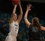 Idaho's Isabelle Hadden shoots over Portland State's Courtney West in a women's Big Sky Tournament semi-final game held at the Reno Events Center on Friday, March 9, 2018 in Reno, Nevada.