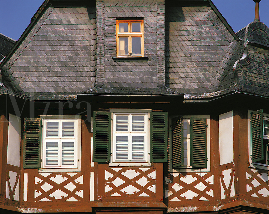 Colourful semi-timbered traditional house, Freiburg, Bavaria, southern German
