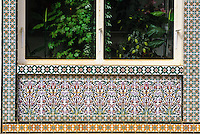 Ceramics, Nabeul, Tunisia.  Florist's Shop Decorated with Floral Design in Ceramic Tiles.