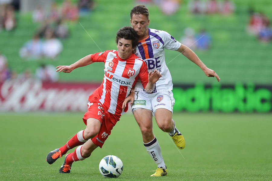 MELBOURNE - 8 DEC: Jeremy WALKER of the Heart and Chris HAROLD of the Glory fight for the ball in the round ten A-League match between the Melbourne Heart and Perth Glory at AAMI Park on 8 December 2012. (Photo Sydney Low/syd-low.com/Melbourne Heart)