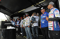 NWA Democrat-Gazette/FLIP PUTTHOFF <br /> Top 10 anglers who will fish today gather on stage Saturday April 16, 2016 after the weigh-in. They include Andy Morgan (second from left), Jeff Sprague (third from left), Scott Martin, (fourth from left) Darrel Robertson (fifth from left), Stetson Blaylock (third from right) and Chris Whitson (second from right).
