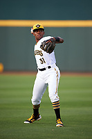 Bradenton Marauders third baseman Ke'Bryan Hayes (31) warms up before a game against the Clearwater Threshers on April 18, 2017 at LECOM Park in Bradenton, Florida.  Clearwater defeated Bradenton 4-2.  (Mike Janes/Four Seam Images)