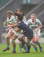 Twickenham, Surrey. UK.  [L]  Chloe WITHERS tackled by Caitlin McARDLE, during the 2017 Women's Varsity Rugby Match, Oxford vs Cambridge Universities. RFU Stadium, Twickenham. Surrey, England.<br /> <br /> Thursday  07.12.17  <br /> <br /> [Mandatory Credit Peter SPURRIER/Intersport Images]