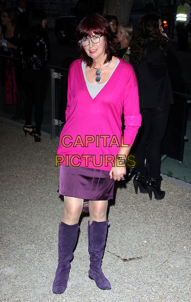 JANET STREET PORTER.Attending the Burberry Closing Party for London Fashion Week held at Chelsea College for Art & Design, London, England, UK, .September 22nd 2009..full length pink v-neck jumper geek glasses purple suede knee high boots skirt sweater .CAP/AH.©Adam Houghton/Capital Pictures.