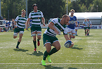 Jordan Burns of Ealing Trailfinders scores a try during the 2019/20 Pre Season Friendly match between Ealing Trailfinders and Bishop's Stortford at Castle Bar , West Ealing , England  on 24 August 2019. Photo by Alan  Stanford / PRiME Media images
