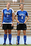 28 August 2009: Duke's Carey Goodman (7) and Duke's Cody Newman (8). The Duke University Blue Devils lost 1-0 to the University of North Carolina Greensboro Spartans at Fetzer Field in Chapel Hill, North Carolina in an NCAA Division I Women's college soccer game.