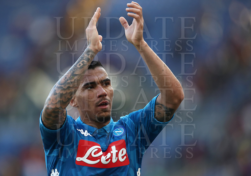 Football, Serie A: AS Roma - SSC Napoli, Olympic stadium, Rome, March 31, 2019. <br /> Napoli's Marques Allan celebrates after winning 4-1the Italian Serie A football match between Roma and Napoli at Olympic stadium in Rome, on March 31, 2019.<br /> UPDATE IMAGES PRESS/Isabella Bonotto