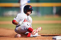 Scottsdale Scorpions David Fletcher (3), of the Los Angeles Angels of Anaheim organization, slides into third base during a game against the Mesa Solar Sox on October 18, 2016 at Sloan Park in Mesa, Arizona.  Mesa defeated Scottsdale 6-3.  (Mike Janes/Four Seam Images)