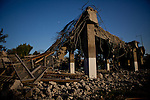 A structurally unsound highway ramp is destroyed in Fresno, Calif., September 24, 2012.
