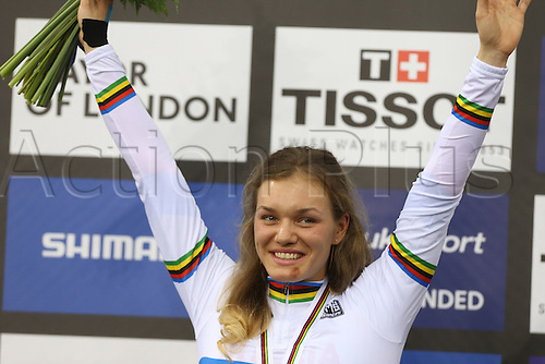 04.03.2016. Lee valley Velo Centre. London England. UCI Track Cycling World Championships Womens 500m time trial.   VOINOVA Anastasiia (RUS) winner of the gold medal