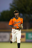 AZL Giants second baseman Robert Antunez (34) jogs off the field between innings of the game against the AZL Athletics on August 5, 2017 at Scottsdale Stadium in Scottsdale, Arizona. AZL Athletics defeated the AZL Giants 2-1. (Zachary Lucy/Four Seam Images)