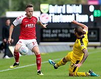 Fleetwood Town's Gethin Jones is tackled by Oxford United's Ricky Holmes<br /> <br /> Photographer David Shipman/CameraSport<br /> <br /> The EFL Sky Bet League One - Oxford United v Fleetwood Town - Saturday August 11th 2018 - Kassam Stadium - Oxford<br /> <br /> World Copyright &copy; 2018 CameraSport. All rights reserved. 43 Linden Ave. Countesthorpe. Leicester. England. LE8 5PG - Tel: +44 (0) 116 277 4147 - admin@camerasport.com - www.camerasport.com
