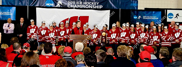 Head coach Mark Johnson addresses the crowd at the event celebrating the UW women's hockey team's NCAA championship at the Nicholas Johnson Pavilion on Monday, 3/21/11, in Madison, Wisconsin | Photos by Greg Dixon accompanied Andy Baggot article in the Wisconsin State Journal and madison.com at http://j.mp/h1sUOJ