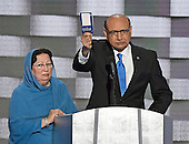 Khizr Khan holds a copy of the US Constitution as he makes remarks during the fourth session of the 2016 Democratic National Convention at the Wells Fargo Center in Philadelphia, Pennsylvania on Thursday, July 28, 2016.  Kahn's son, Humayun S. M. Khan was a University of Virginia graduate who enlisted in the US Army and is one of 14 American Muslims who have died serving the United States in the ten years after the September 11, 2001 terrorist attacks. <br /> Credit: Ron Sachs / CNP<br /> (RESTRICTION: NO New York or New Jersey Newspapers or newspapers within a 75 mile radius of New York City)