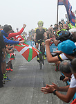 Jack Haig (AUS) Mitchelton-Scott pops a wheelie on the final climb of Stage 17 of the La Vuelta 2018, running 157km from Getxo to Balc&oacute;n de Bizkaia, Spain. 12th September 2018.                   <br /> Picture: Colin Flockton | Cyclefile<br /> <br /> <br /> All photos usage must carry mandatory copyright credit (&copy; Cyclefile | Colin Flockton)