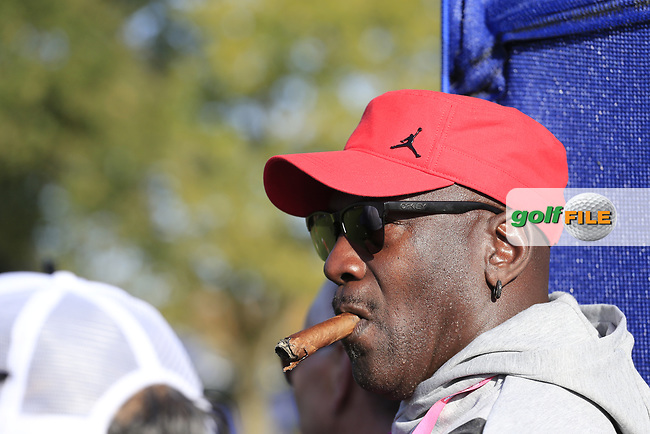 Michael Jordan enjoying the golf at the 13th green during Saturday's Foursomes Matches at the 2018 Ryder Cup 2018, Le Golf National, Ile-de-France, France. 29/09/2018.<br /> Picture Eoin Clarke / Golffile.ie<br /> <br /> All photo usage must carry mandatory copyright credit (© Golffile   Eoin Clarke)