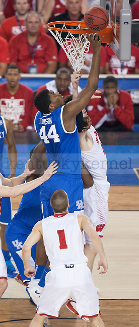 Kentucky Wildcats center Dakari Johnson (44) puts the ball in the basket during the NCAA Final Four vs. Wisconsin at the AT&T in Arlington, Tx., on Saturday, April 5, 2014. Photo by Eleanor Hasken | Staff