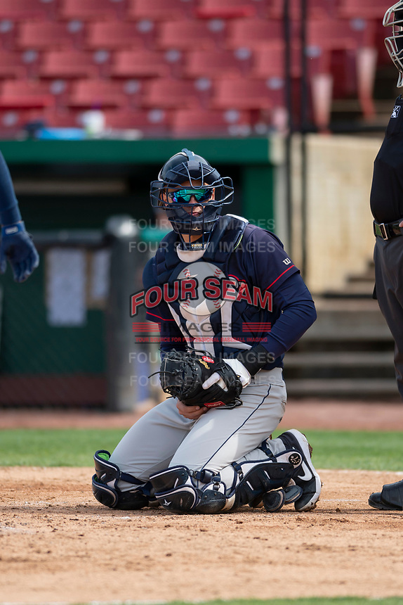 Cedar Rapids Kernels catcher Ben Rodriguez (23) during a Midwest League game against the Kane County Cougars at Northwestern Medicine Field on April 28, 2019 in Geneva, Illinois. Kane County defeated Cedar Rapids 3-2 in game one of a doubleheader. (Zachary Lucy/Four Seam Images)