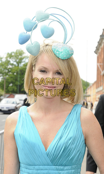 AMANDA HOLDEN.The Royal Ascot Day 1, Ascot, Berkshire, England..June 15th, 2010.half length dress blue turquoise sleeveless dress hat hearts.CAP/CAN.©Can Nguyen/Capital Pictures.