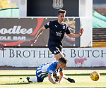 06.10.18 Dundee v Kilmarnock: Jordan Jones stumbles in the box and goes down as Cammy Kerr watches on