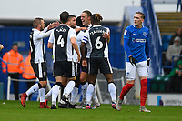 Tom Eaves of Gillingham celebrates his goal with Luke O'Neill of Gillingham and Gabriel Zakuani of Gillingham as Ronan Curtis of Portsmouth right looks dejected during Portsmouth vs Gillingham, Sky Bet EFL League 1 Football at Fratton Park on 6th October 2018
