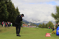 Scott Hend (AUS) tees off the 18th tee during Sunday's Final Round of the 2017 Omega European Masters held at Golf Club Crans-Sur-Sierre, Crans Montana, Switzerland. 10th September 2017.<br /> Picture: Eoin Clarke | Golffile<br /> <br /> <br /> All photos usage must carry mandatory copyright credit (&copy; Golffile | Eoin Clarke)