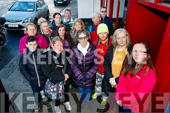 Corey O'Brien, Rebecca O'Donoghue, Michelle Ward, Nicola Walsh, Geraldine Broderick, Christina O'Donoghue, David Ward, Mary Fell, Mary Duggan, Mark O'Brien, Johnny Prendergast, Patrick Doody, Veronica White (Interpreter) and Bernadette O'Connor (Founder Kerry Deaf Group), pictured on Monday last, as they are campaigning to keep the Irish Deaf Society (based in Dublin) open as it is a service that accommodates all Deaf people through out Ireland #saveids