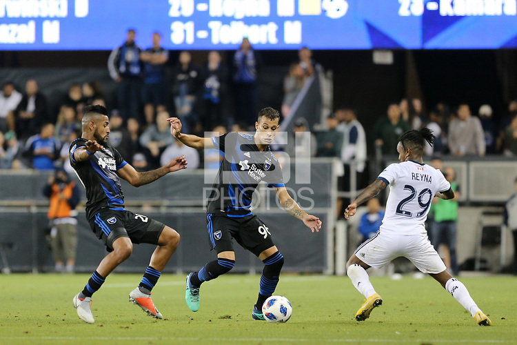San Jose, CA - Saturday August 25, 2018: Anibal Godoy, Luis Felipe, Yordy Reyna during a Major League Soccer (MLS) match between the San Jose Earthquakes and Vancouver Whitecaps FC at Avaya Stadium.