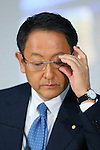 May 8, 2015, Tokyo, Japan - Akio Toyoda, president of Japan's Toyota Motor Corp., reacts during a news conference at its head office in Tokyo on Friday, May 8, 2015. The world's top-selling automaker forecasts operating profit will edge up 1.8 percent this year to 2.80 trillion yen. (Photo by Yohei Osada/AFLO)