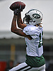 Robby Anderson #11 makes a catch during New York Jets Training Camp at the Atlantic Health Jets Training Center in Florham Park, NJ on Tuesday, Aug. 8, 2017.