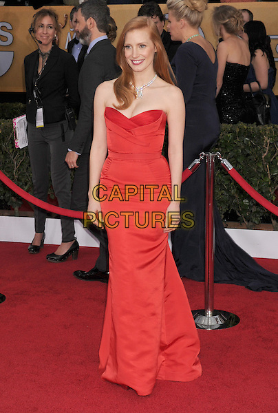 Jessica Chastain (wearing Alexander McQueen).Arrivals at the 19th Annual Screen Actors Guild Awards at the Shrine Auditorium in Los Angeles, California, USA..27th January 2013.SAG SAGs full length red strapless dress .CAP/ROT/TM.©Tony Michaels/Roth Stock/Capital Pictures
