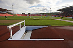 A water jum on the track at the Gateshead International Stadium, the athletics stadium which is also the home ground of Gateshead FC, pictured as the club play host to Cambridge United in a Blue Square Bet Premier division fixture. The match ended in a one-all draw, watched by a crowd of 904. The point meant Gateshead went to the top of the division, one below the Football League in England.