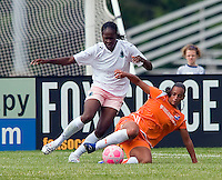 St Louis Athletica defender Tina Ellertson (8) and Sky Blue FC  midfielder Rosana (11) battle for the ball during a WPS match at Anheuser-Busch Soccer Park, in St. Louis, MO, June 7, 2009. Athletica won the match 1-0.