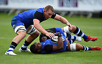 Bath Rugby players in action during the pre-match warm-up. Pre-season friendly match, between Edinburgh Rugby and Bath Rugby on August 17, 2018 at Meggetland Sports Complex in Edinburgh, Scotland. Photo by: Patrick Khachfe / Onside Images
