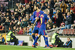 Andres Iniesta of FC Barcelona (R) switch off Andre Gomes of FC Barcelona (L) during the La Liga 2017-18 match between FC Barcelona and Deportivo La Coruna at Camp Nou Stadium on 17 December 2017 in Barcelona, Spain. Photo by Vicens Gimenez / Power Sport Images
