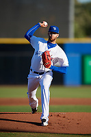 Dunedin Blue Jays pitcher T.J. Zeuch (32) delivers a pitch during a game against the Fort Myers Miracle on April 17, 2018 at Dunedin Stadium in Dunedin, Florida.  Dunedin defeated Fort Myers 5-2.  (Mike Janes/Four Seam Images)