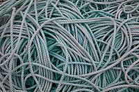 Green Rope Detail, Port of Astoria, Washington State, WA, America, USA.