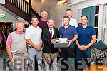 Killarney Rugby Golf Classic winners 1st place Michael Coleman Team Michael Colman, Ger Healy and George Lenihan, 2nd place Liam McGuire Team of Liam McGuire, Keith McMahon and Sean O'Keeffe (not present), 3rd place The Reeks Team ofPaul Downey, John O'Shea (not present) and Mick Fuller pictured with Mike Fuller (president) presenting the prize to the winners in the Avenue Hotel last Friday night.