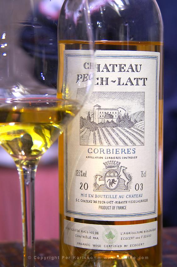 White wine 2003. Chateau Pech-Latt. Near Ribaute. Les Corbieres. Languedoc. France. Europe. Bottle. Wine glass.